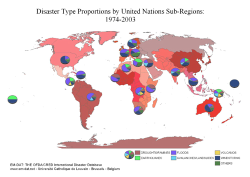 World maps em dat disasters type proportion by united nations sub regions 1974 2003 gumiabroncs Choice Image