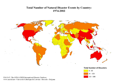 World maps em dat n of natural disasters by country 1974 2003 gumiabroncs Image collections